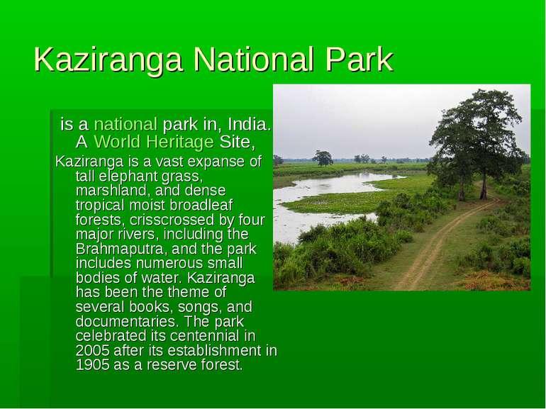 Kaziranga National Park is anational parkin, India. AWorld Heritage Site...