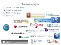 Тестові доступи Всього – 74 бази даних 2009 – 34 бази даних 2010 – 37 баз дан...