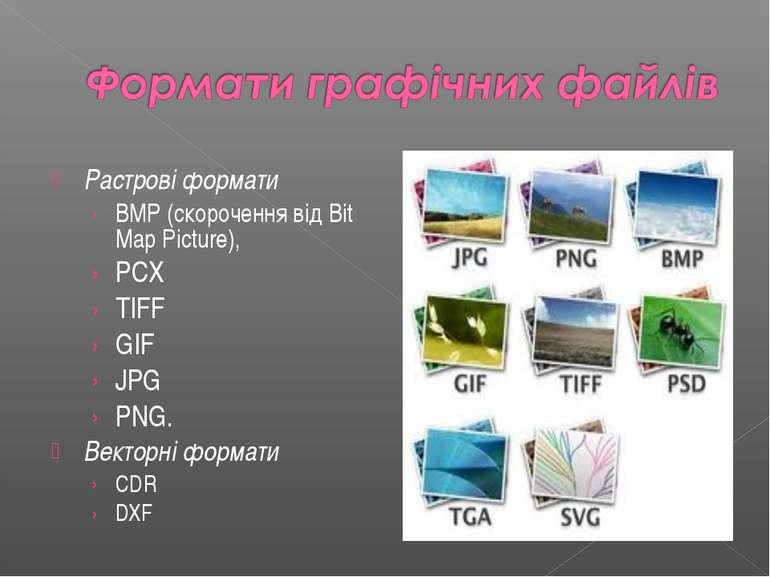 Растровi формати BMP (скорочення вiд Bit Map Picture), PCX TIFF GIF JPG PNG. ...