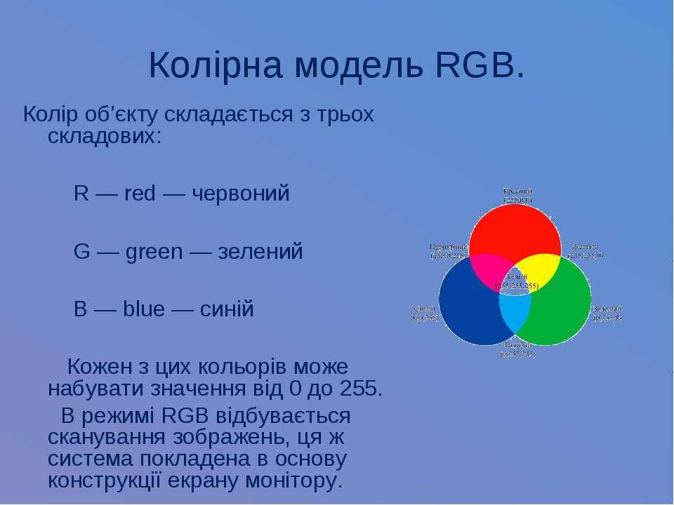 Колірна модель RGB. Колір об'єкту складається з трьох складових: R — red — че...