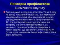 Повторна профілактика ішемічного інсульту Дипіридамол в середніх дозах (по 75...