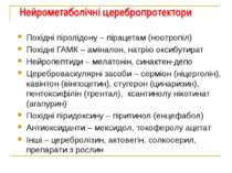 Нейрометаболічні церебропротектори Похідні піролідону – пірацетам (ноотропіл)...