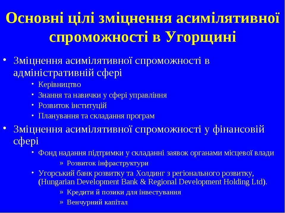Основні цілі зміцнення асимілятивної спроможності в Угорщині Зміцнення асиміл...