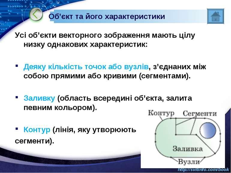 Об'єкт та його характеристики Усі об'єкти векторного зображення мають цілу ни...