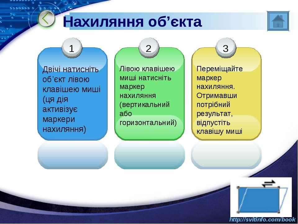 Нахиляння об'єкта http://svitinfo.com/book