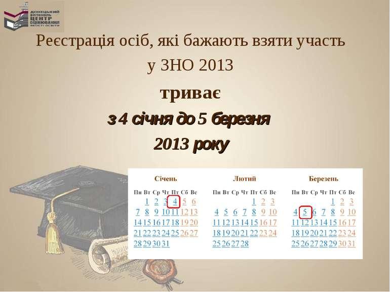 Реєстрація осіб, які бажають взяти участь у ЗНО 2013 триває з 4 січня до 5 бе...
