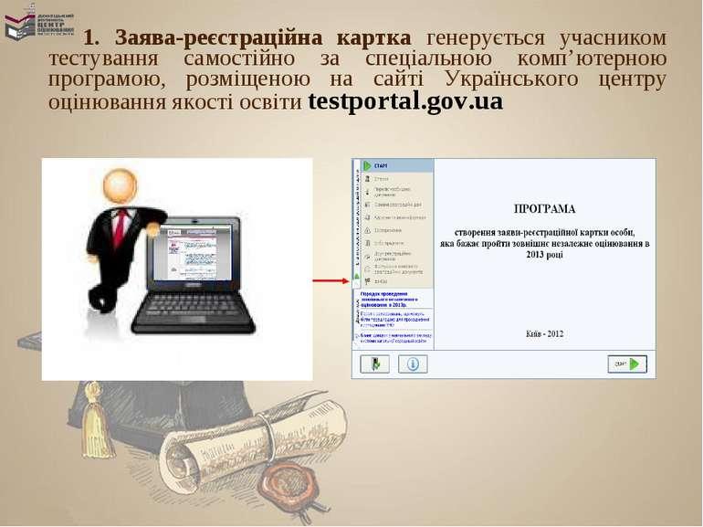 1. Заява-реєстраційна картка генерується учасником тестування самостійно за с...