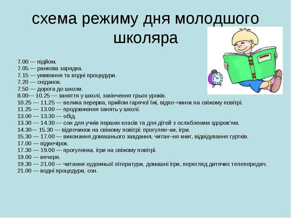 схема режиму дня молодшого школяра 7.00 — підйом. 7.05 — ранкова зарядка. 7.1...