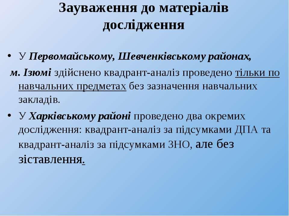 Зауваження до матеріалів дослідження У Первомайському, Шевченківському района...