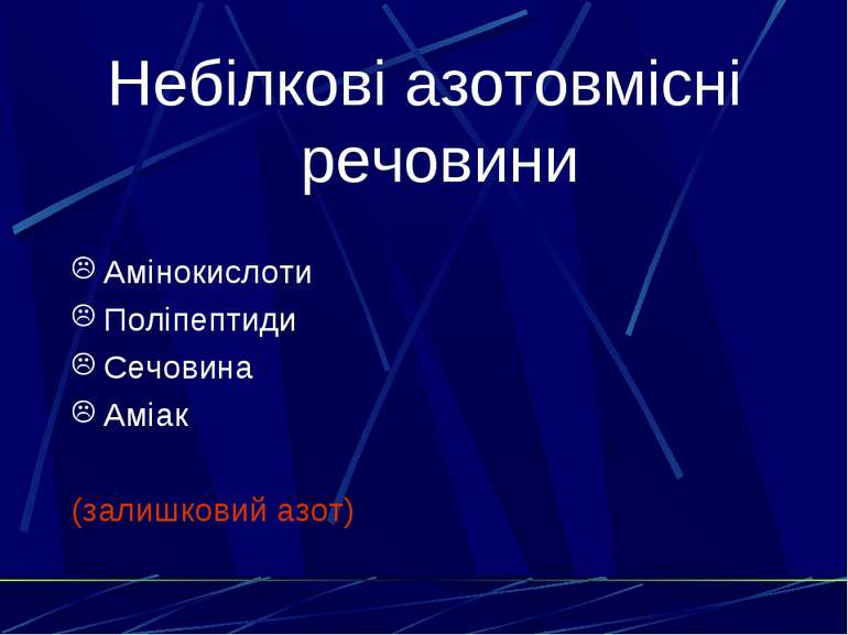 Небілкові азотовмісні речовини Амінокислоти Поліпептиди Сечовина Аміак (залиш...