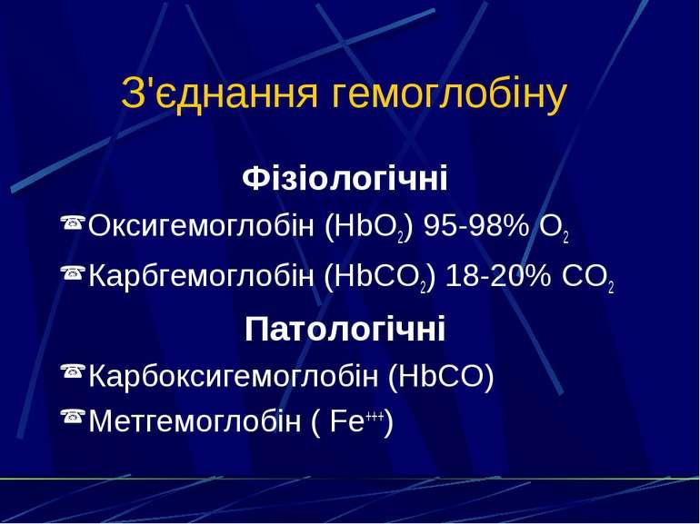 З'єднання гемоглобіну Фізіологічні Оксигемоглобін (HbO2) 95-98% O2 Карбгемогл...