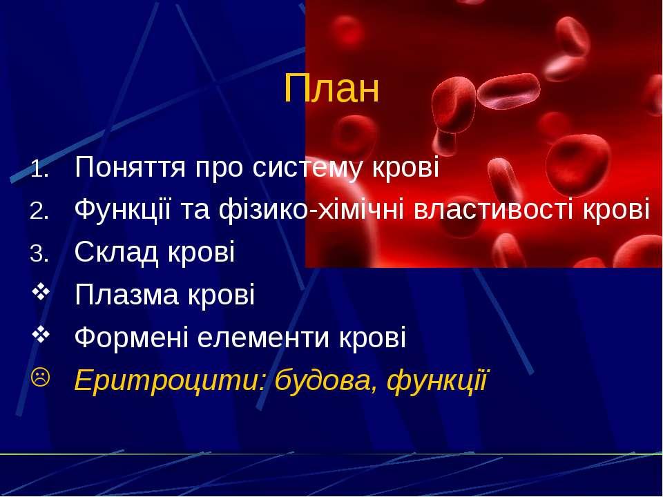 План Поняття про систему крові Функції та фізико-хімічні властивості крові Ск...