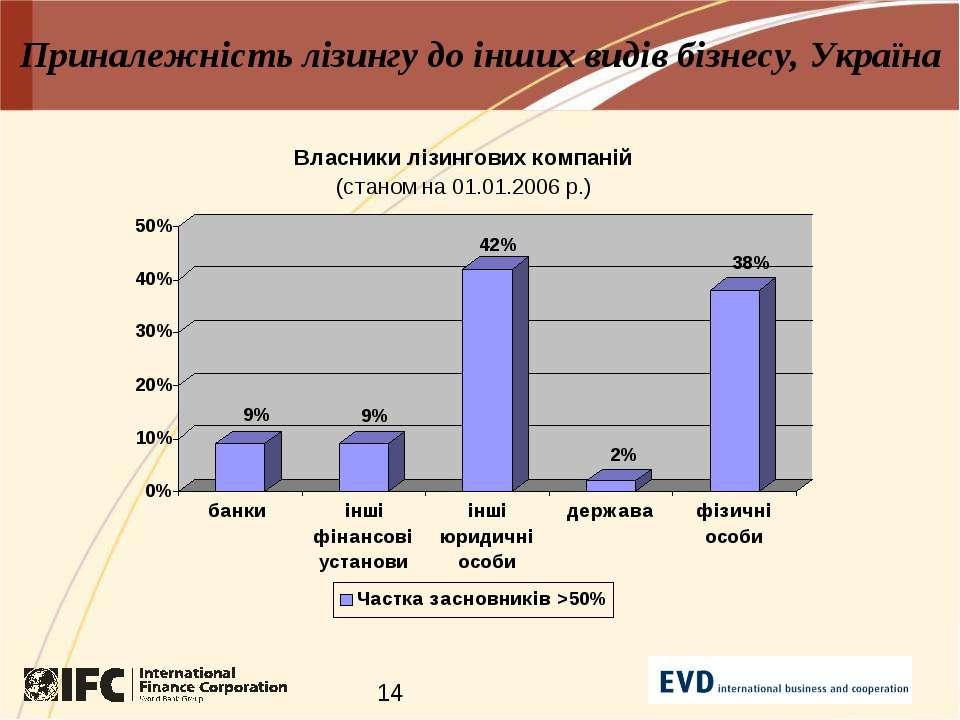Приналежність лізингу до інших видів бізнесу, Україна