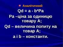 Аналітичний Qd = a - b*Pa Pa –ціна за одиницю товару А; Qd – величина попиту ...
