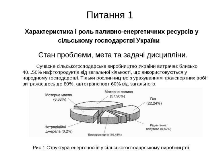 Питання 1 Характеристика і роль паливно-енергетичних ресурсів у сільському го...
