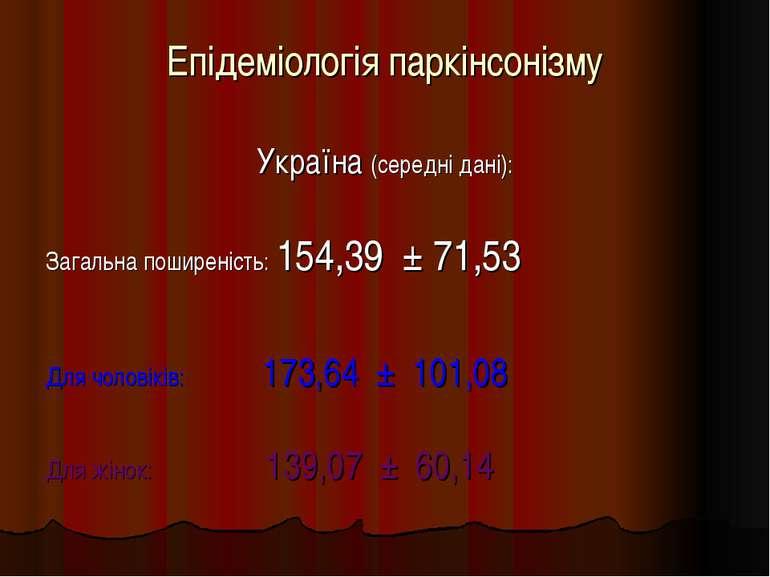 Епідеміологія паркінсонізму Україна (середні дані): Загальна поширеність: 154...