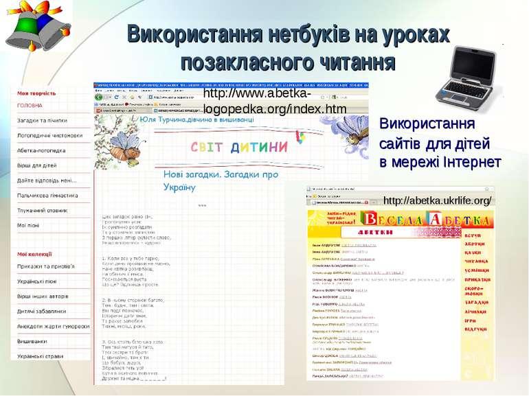 Використання нетбуків на уроках позакласного читання http://www.abetka-logope...