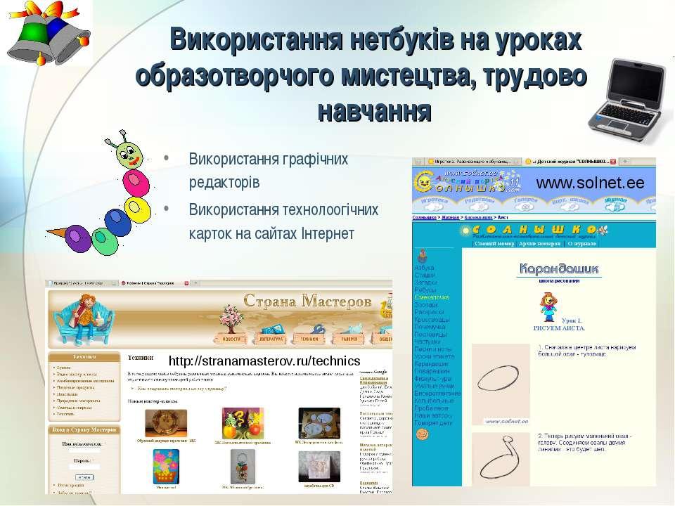 Використання графічних редакторів Використання технолоогічних карток на сайта...
