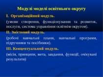 Модулі моделі освітнього округу І. Організаційний модуль. (умови створення, ф...