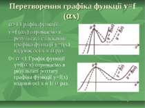 Перетворення графіка функції y=f ( x) >1 Графік функції y=f ( x) отримаємо в ...