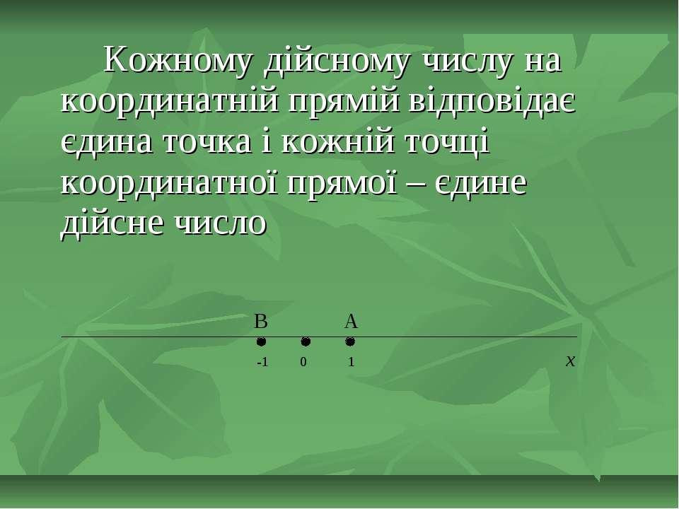 Кожному дійсному числу на координатній прямій відповідає єдина точка і кожній...