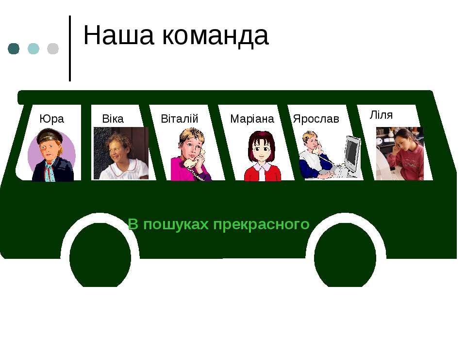 Наша команда В пошуках прекрасного Юра Віка Віталій Маріана Ярослав Ліля