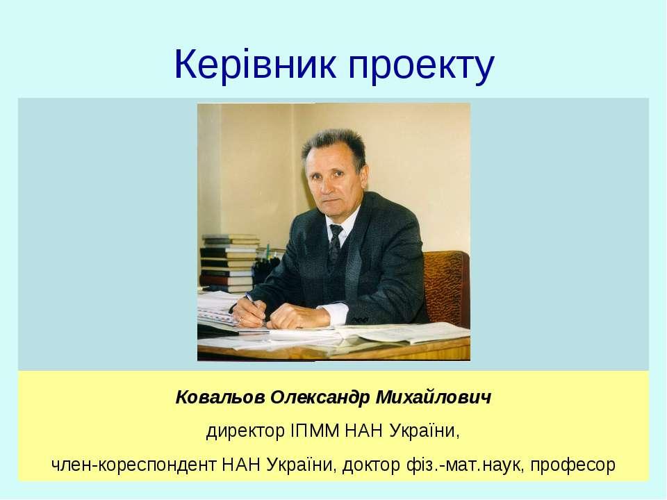 Керівник проекту Ковальов Олександр Михайлович директор ІПММ НАН України, чле...