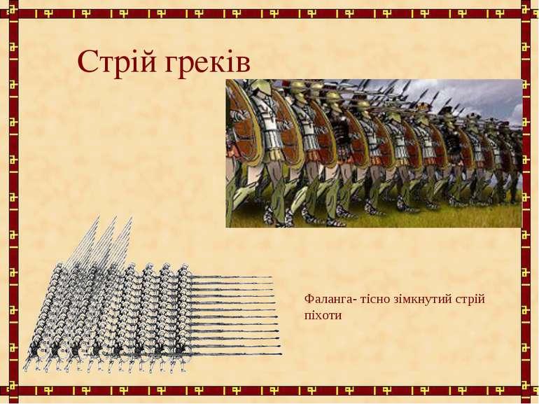 Стрій греків Фаланга- тісно зімкнутий стрій піхоти