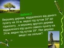 Задача 2 Вершину дерева, віддаленого від даного пункту на 16 м, видно під кут...