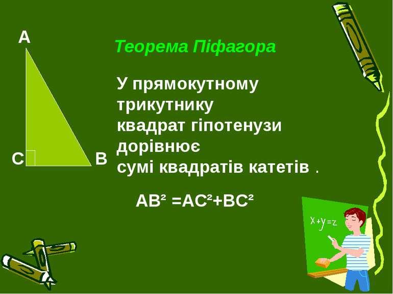 Теорема Піфагора У прямокутному трикутнику квадрат гіпотенузи дорівнює сумі к...
