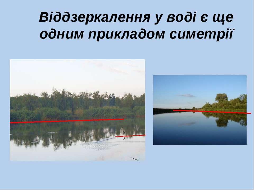 Віддзеркалення у воді є ще одним прикладом симетрії