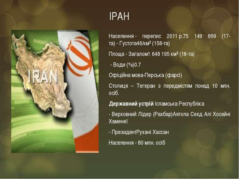 ІРАН Населення- перепис 2011р.75 149 669 (17-та)-Густота46/км² (158-та) П...
