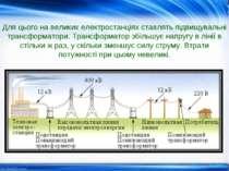 Для цього на великих електростанціях ставлять підвищувальні трансформатори. Т...