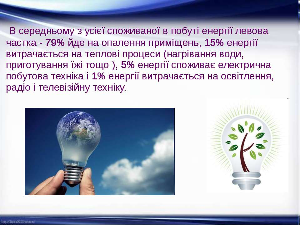 В середньому з усієї споживаної в побуті енергії левова частка - 79% йде на о...