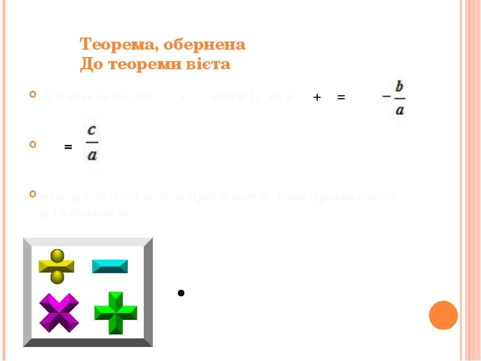 Теорема, обернена До теореми вієта Якщо числа α і β такі, що α+β= αβ= то ...