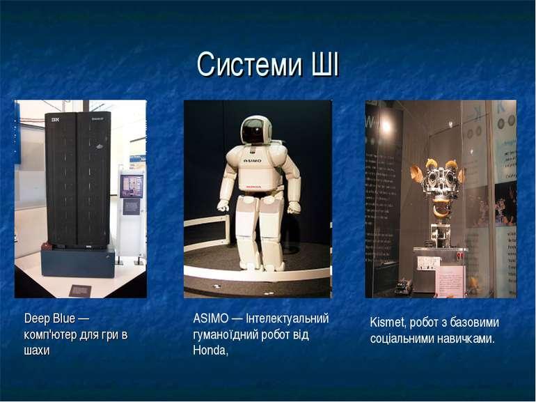 Системи ШІ Deep Blue — комп'ютер для гри в шахи ASIMO — Інтелектуальний гуман...