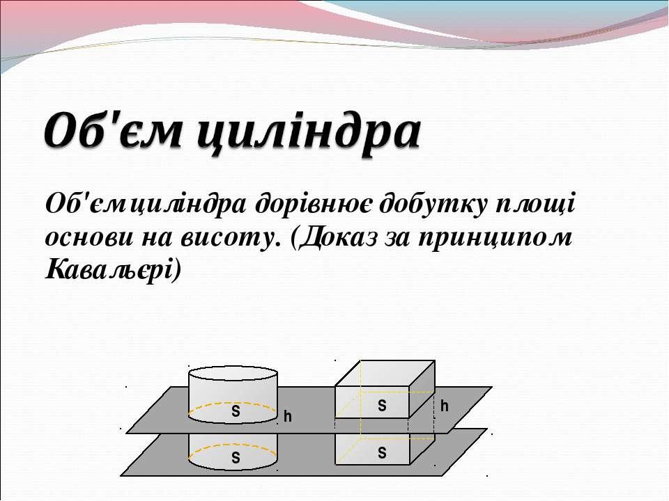 Об'єм циліндра дорівнює добутку площі основи на висоту. (Доказ за принципом К...