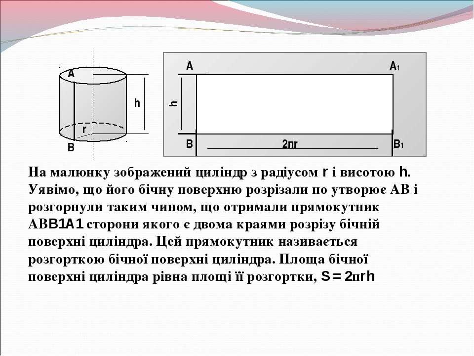 На малюнку зображений циліндр з радіусом r і висотою h. Уявімо, що його бічну...