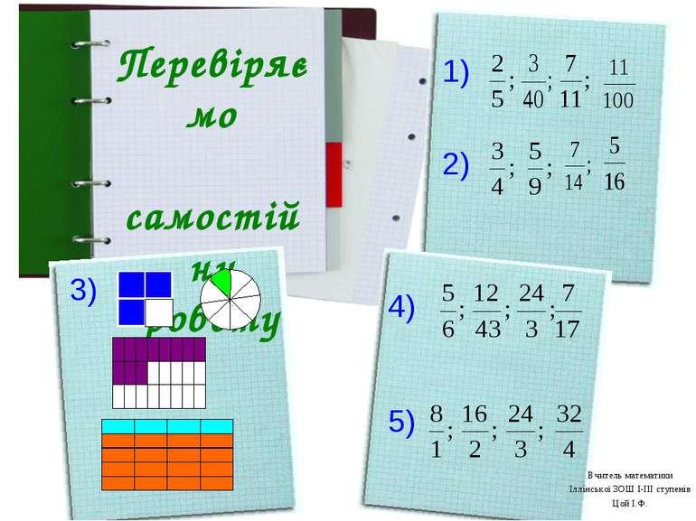Перевіряємо самостійну роботу 1) 2) 3) 4) 5) Вчитель математики Іллінської ЗО...