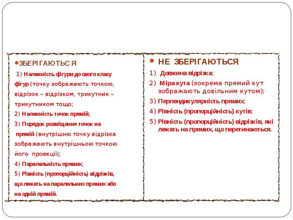 Властивості фігур під час паралельного проектування ЗБЕРІГАЮТЬС Я 1) Належніс...