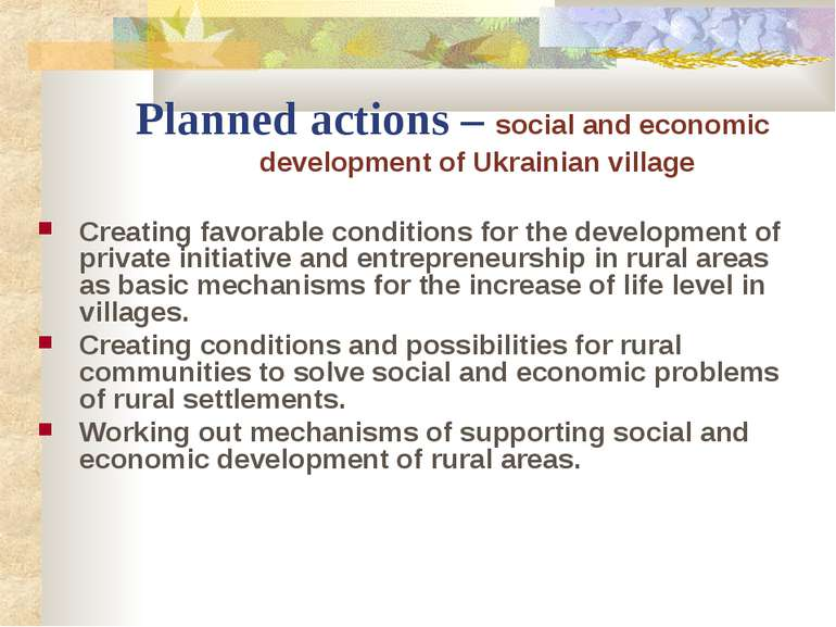 Planned actions – social and economic development of Ukrainian village Creati...
