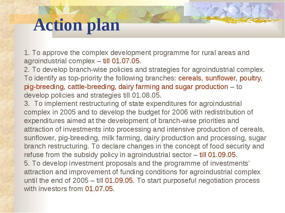 Action plan 1. To approve the complex development programme for rural areas a...