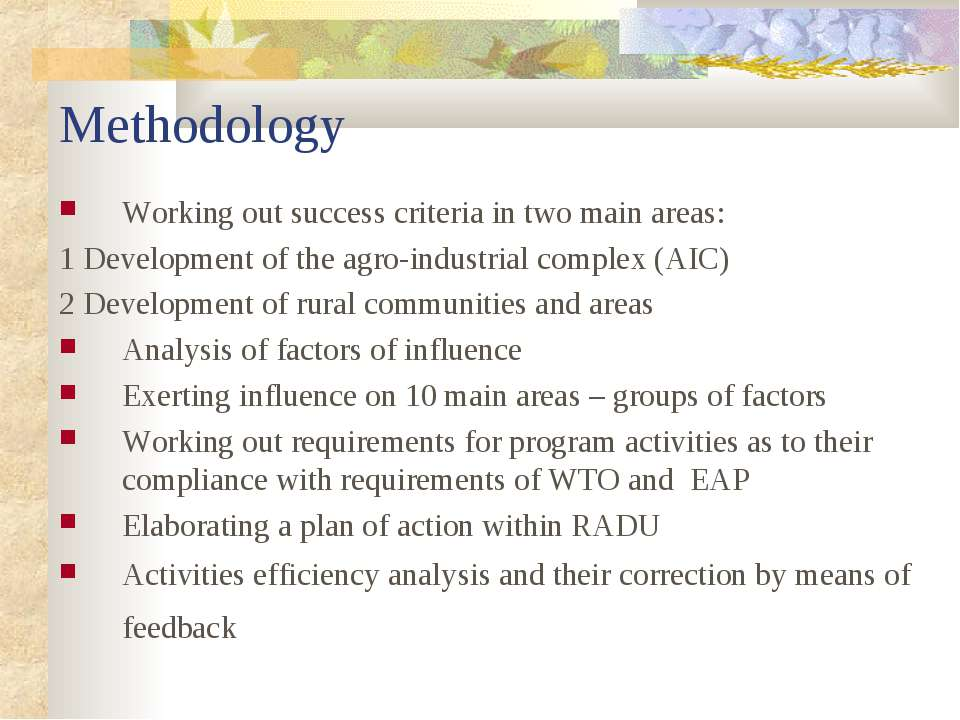 Methodology Working out success criteria in two main areas: 1 Development of ...