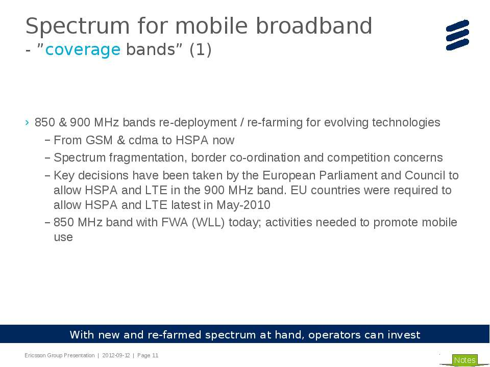 850 & 900 MHz bands re-deployment / re-farming for evolving technologies From...