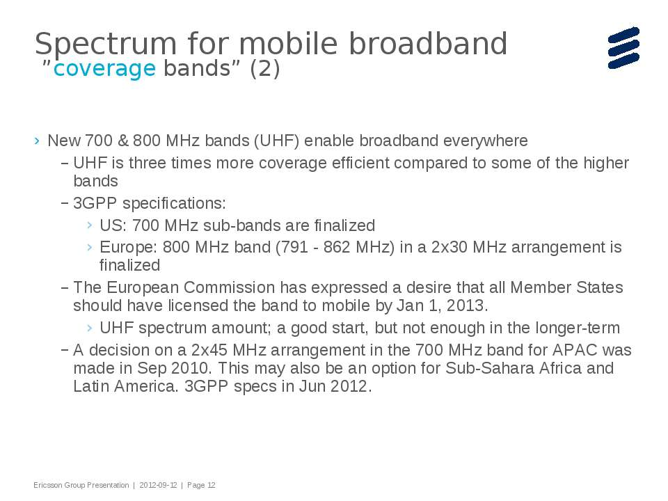 "Spectrum for mobile broadband ""coverage bands"" (2) New 700 & 800 MHz bands (U..."