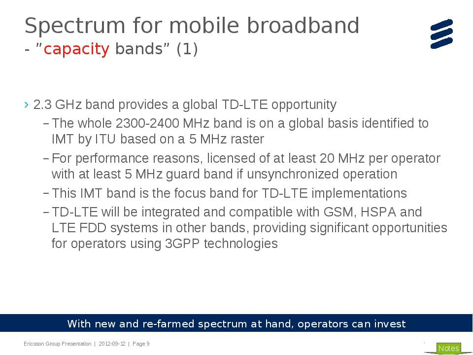 2.3 GHz band provides a global TD-LTE opportunity The whole 2300-2400 MHz ban...
