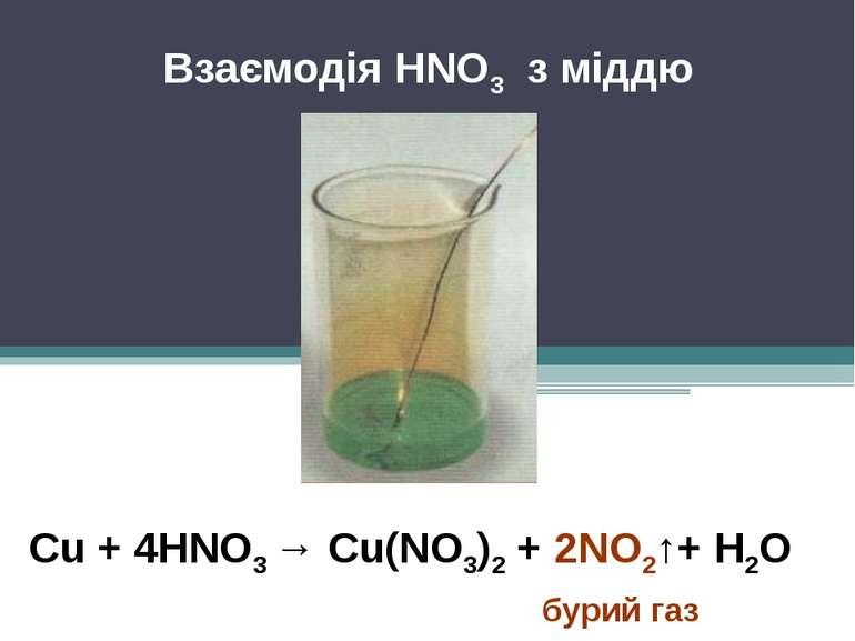 Взаємодія HNO3 з міддю Cu + 4HNO3 → Cu(NO3)2 + 2NO2↑+ H2O бурий газ