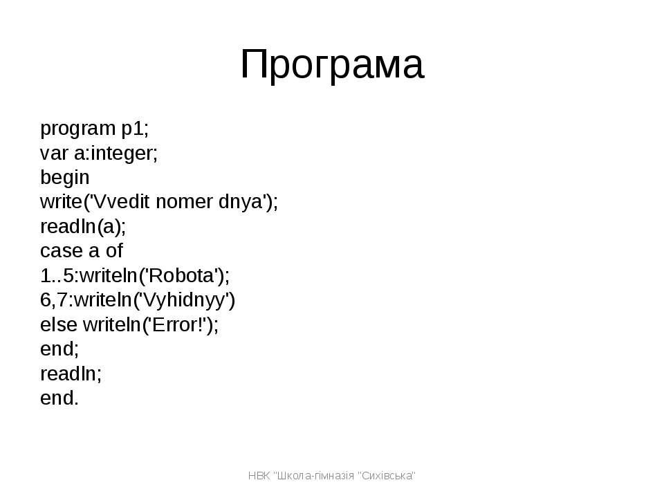 Програма program p1; var a:integer; begin write('Vvedit nomer dnya'); readln(...