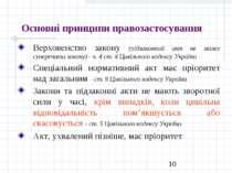 Основні принципи правозастосування Верховенство закону (підзаконний акт не мо...