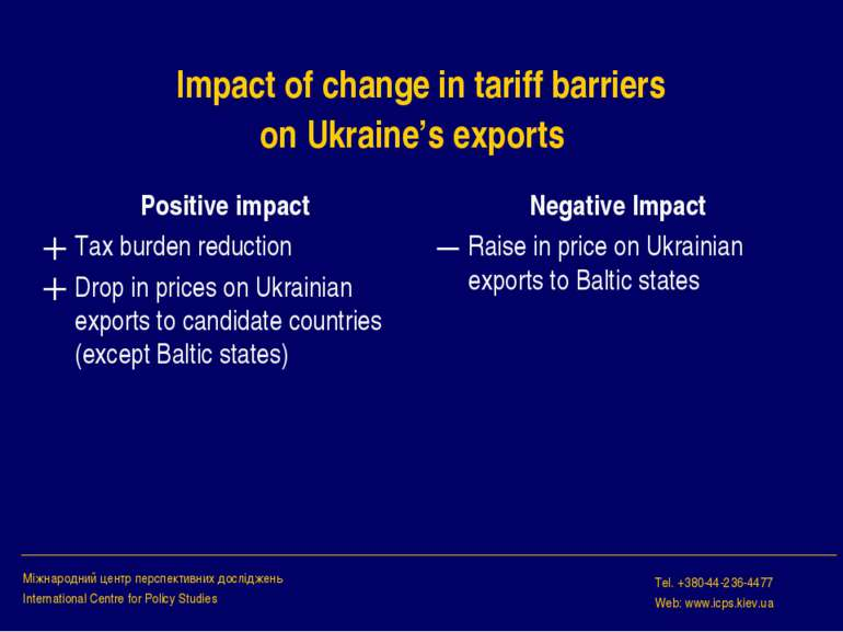 Impact of change in tariff barriers on Ukraine's exports Positive impact Tax ...